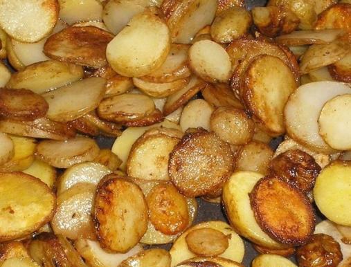 Жарим картошку круглыми кусочками