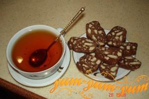 Домашняя сладкая колбаска из печенья