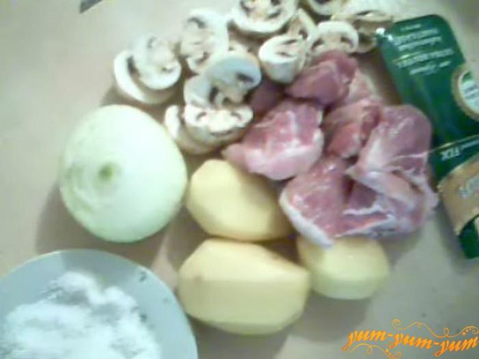 Ингредиенты для приготовления мяса с грибами и картофелем