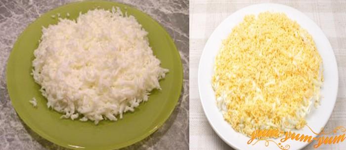 Очищаем вареные яйца и отделяем желток
