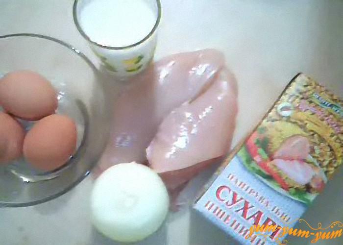 Филе, сухари, лук, яйцо
