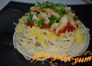 Спагетти с индейкой и сыром рецепт с фото