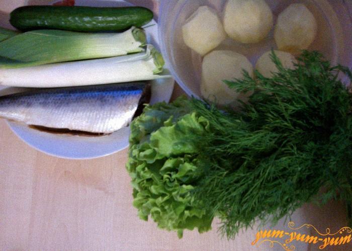 картофель, лук, зелень, огурец