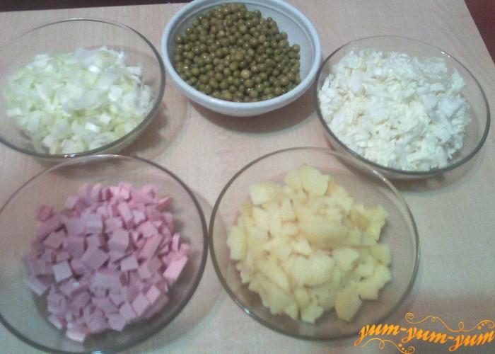 нарезать продукты кубиками