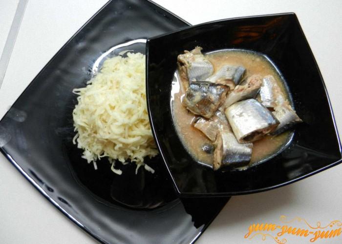картофель и рыба для начинки
