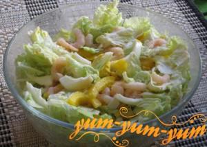 Салат с креветками и сыром по-домашнему рецепт с фото
