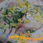 Окрошка на кефире с мясом рецепт с фото
