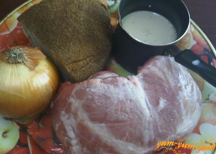 необходимые продукты для котлет из свинины с хлебом
