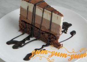 Шоколадный торт - Три шоколада рецепт с фото