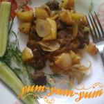 Диетическая куриная печень с яблоками рецепт с фото