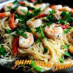 Паста с креветками и чесночным соусом рецепт с фото
