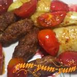 Готовые котлеты с жареными овощами