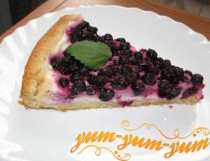 Готовый пирог со смородиной и творогом