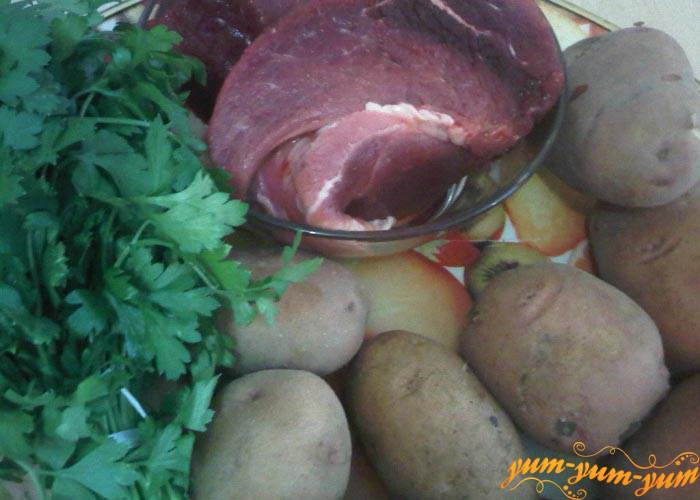 Мясо, картошка и зелень