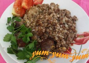 Приготовление гречневой каши с мясом в аэрогриле