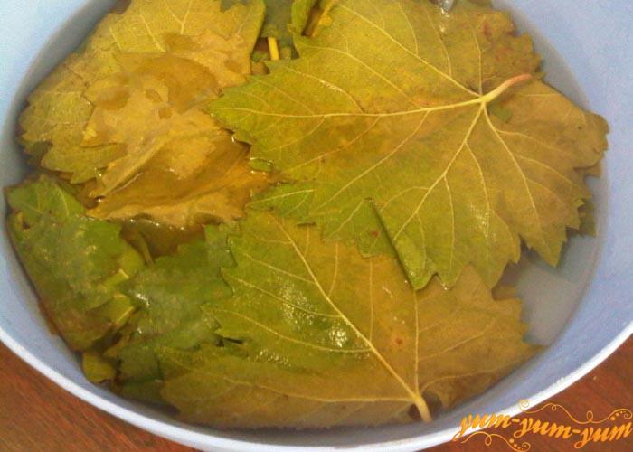 Заливаем листья винограда кипятком