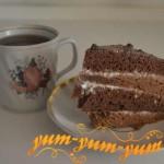 Рецепт бисквитно-шоколадного торта со сметанным кремом