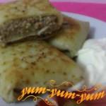 Рецепт блинчиков с начинкой из мяса и печени