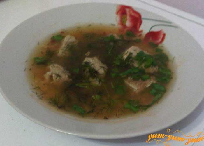 Готовый суп с рисом и мясом