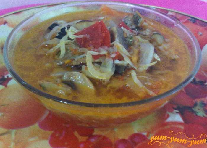 Готовый суп солянку подаем к столу