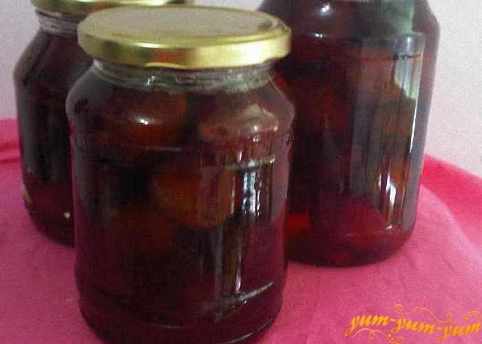рецепт консервированных слив компот