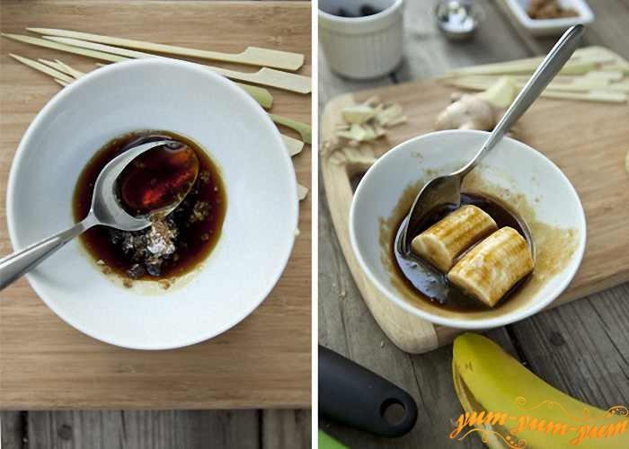 Бананы смазать медом и обжарить