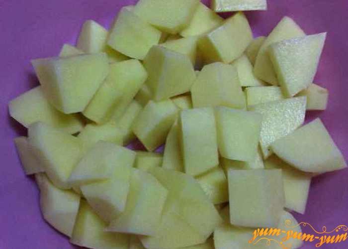 Картофель нарезать средними кубиками 2х2