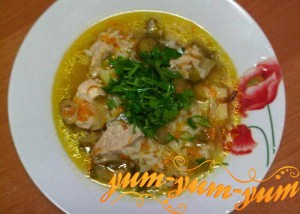 Рецепт рассольника с рисом и свининой