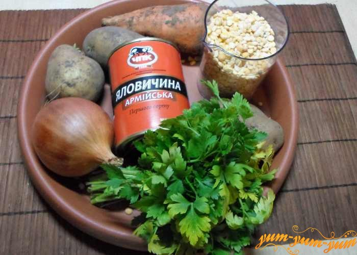 Тушенка, горох и овощи
