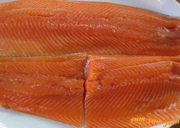 Кусочки филе лосося