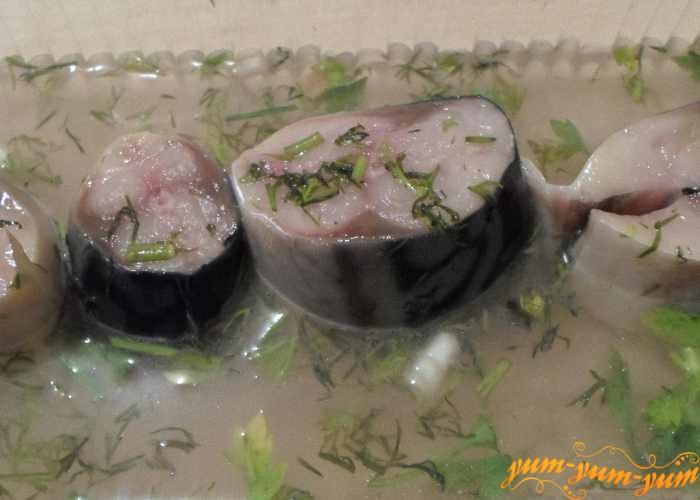 Кусочки скумбрии выкладываем в маринад