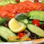 Рецепт копченого лосося с салатом
