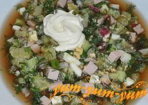 Рецепт окрошки с колбасой