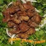 Рецепт салата со щавелем и куриными сердечками