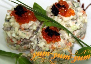 Рецепты оливье с лососем, креветкой и раковыми шейками