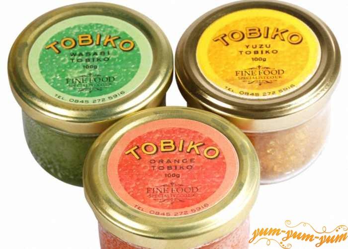 Украсить салат олиьве икрой тобико