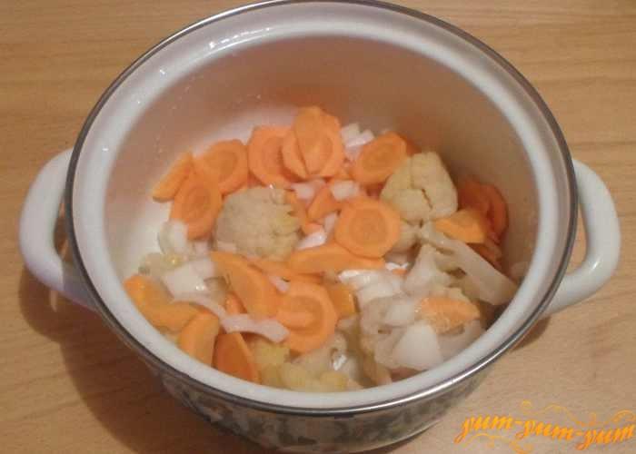 Переложить все обжаренные овощи в сотейник
