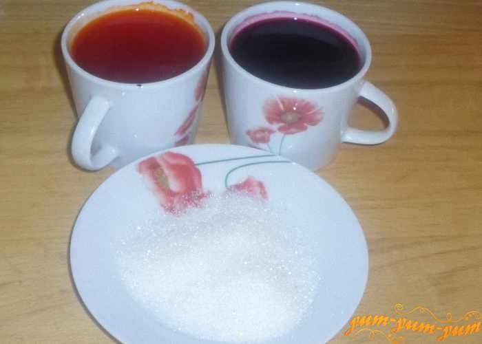Подготовить сахар, сок или красители