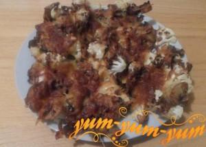 Рецепт цветной капусты с шампиньонами