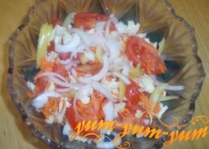 Рецепт салата из цветной капусты с помидорами