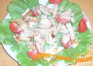 Как приготовить салат цезарь с курицей и помидорами