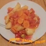 Как приготовить тушеную картошку с помидорами в мультиварке