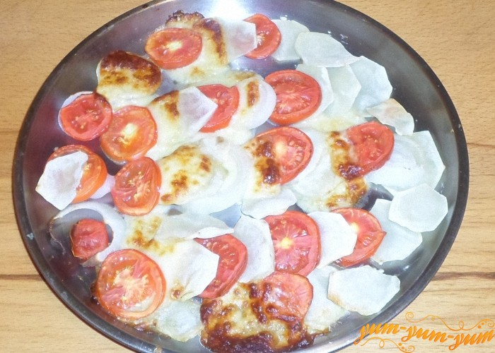 Картофель по французски с помидорами запекать до готовности
