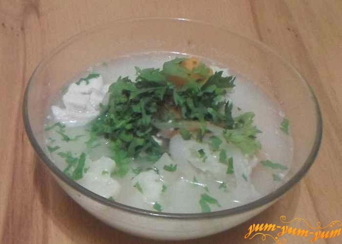Куриный суп с цветной капустой налить в тарелку и посыпать свежей зеленью