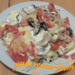 Рецепт приготовления мяса с грибами и помидорами