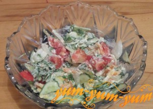 Рецепт приготовления салата из помидоров, огурцов и курицы