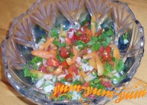 Рецепт салата с помидорами и перцем