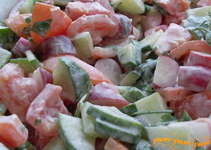 Салат из редиса, помидоров и огурца и аккуратно перемешать и заправить майонезом