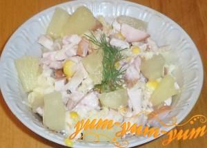 Как приготовить салат из ананаса копченой курицы и кукурузы