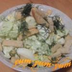 Как приготовить салат из пекинской капусты, кукурузы и сухариков